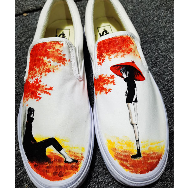 Anime Naruto Uchiha Sasuke Hand Painted Slip-on Shoes