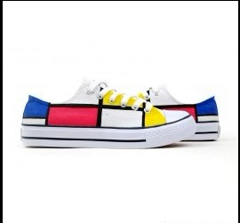 Classic Mondrian Style Hand Painted Platform Canvas Shoes-2
