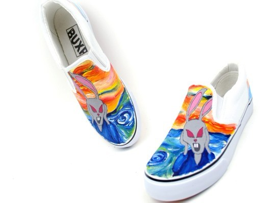 The Scream Themed Oil Painting Style Hand Painting Canvas Shoes-1