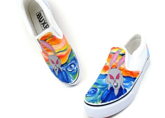 The Scream Themed Oil Painting Style Hand Painting Canvas Shoes-2