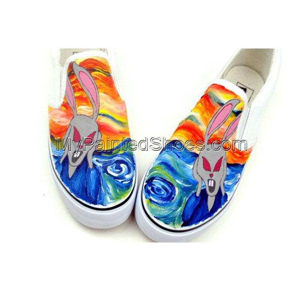 The Scream Themed Oil Painting Style Hand Painting Canvas Shoes