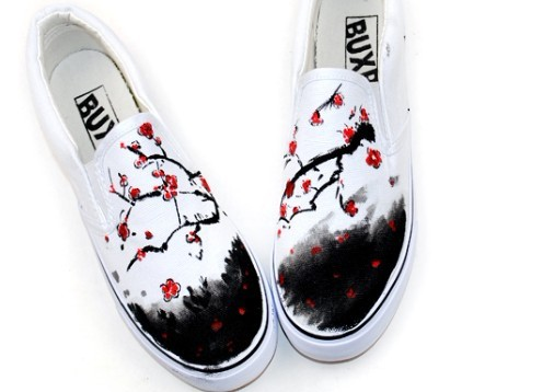 Chinese Wintersweet Inspired Aesthetic Hand Painted Canvas Shoes-1