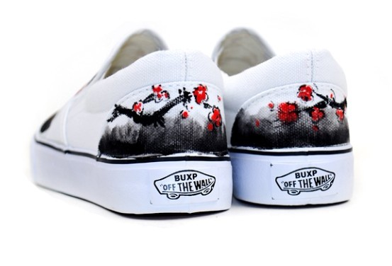 Chinese Wintersweet Inspired Aesthetic Hand Painted Canvas Shoes-2