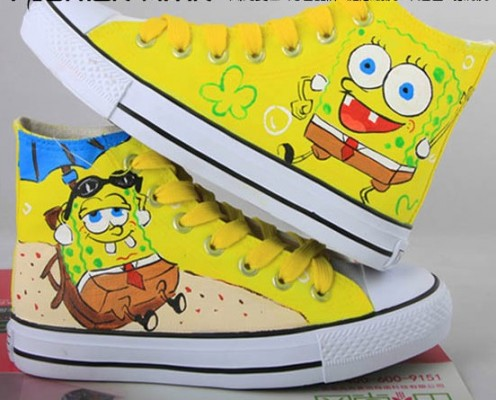 Painting SpongeBob SquarePants Yellow Canvas Shoes