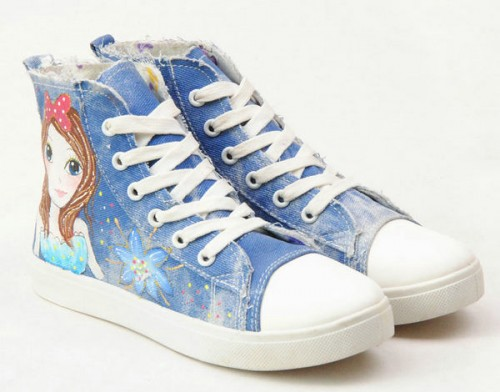 High Top Hand Drawing Sweet Girl Hand Painted Canvas Women Shoes-1