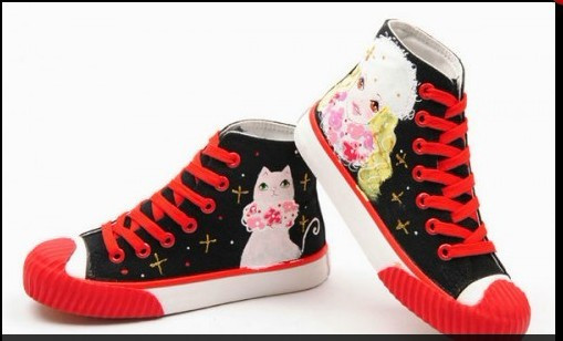 High Top Painted Girl and Cat Black Red Hand Painted Canvas-1