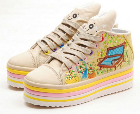 High Top Hand drawing Spring Comes Hand Painted Canvas  Shoes-1