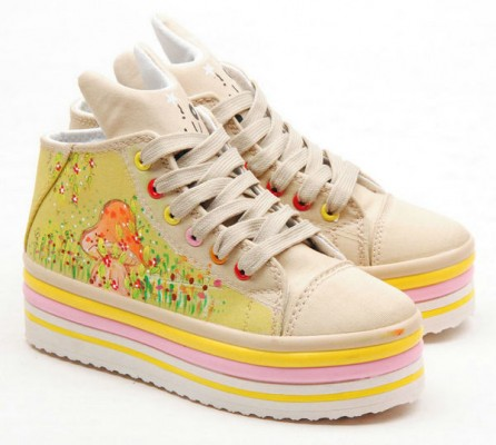 High Top Hand drawing Spring Comes Hand Painted Canvas  Shoes-2