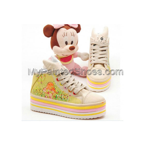 High Top Hand drawing Spring Comes Hand Painted Canvas  Shoes