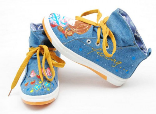 High Top Thinking Fashion Girl Blue Hand Drawing Canvas Sneakers-2