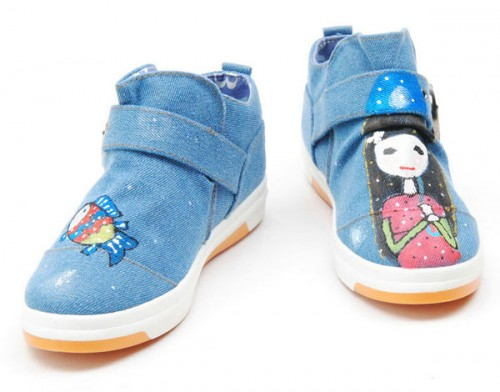 High Drawing Fishing Girl Hand Painted Canvas Women Sneakers-3
