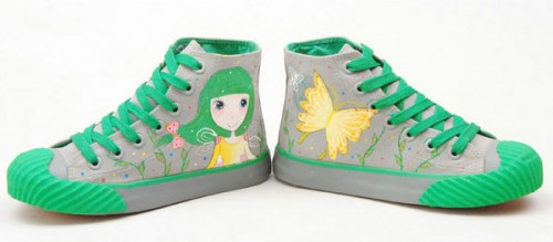 The Girl Next Door Green Grey Hand Painted Canvas Shoes-3