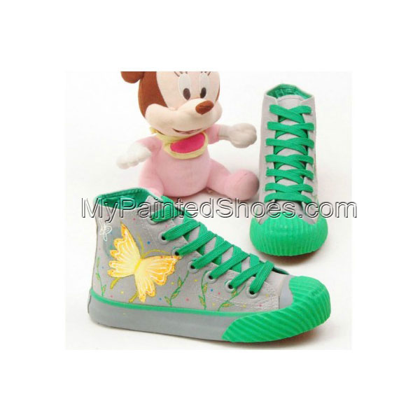 The Girl Next Door Green Grey Hand Painted Canvas Shoes