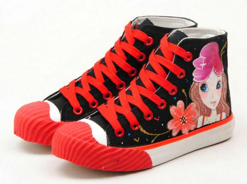 High Top Hand Painted Black Red Hand Painted Canvas Shoes-2