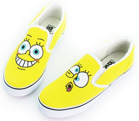 Low SpongeBob SquarePants Hand Painted Canvas Shoes-2