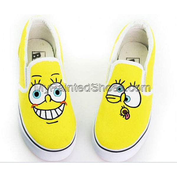 Low SpongeBob SquarePants Hand Painted Canvas Shoes