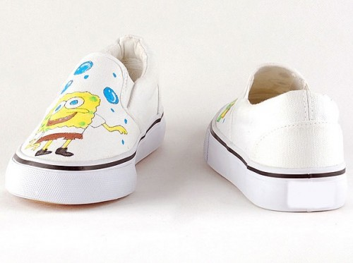 SpongeBob SquarePants White Hand Painted Canvas Sneakers Shoes-2