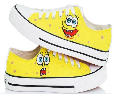SpongeBob SquarePants Yellow 2 Hand Painted Shoes Sneakers-1
