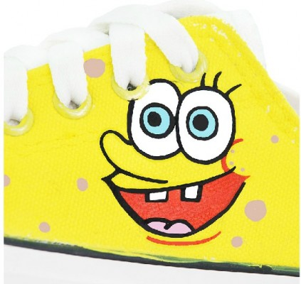SpongeBob SquarePants Yellow 2 Hand Painted Shoes Sneakers-2