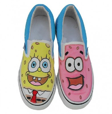 Low Yellow Pink SpongeBob SquarePants Hand Painted Sneakers-1