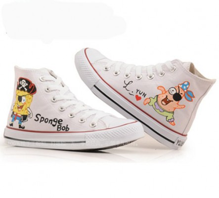 Anime SpongeBob SquarePants White Painted Canvas Shoes-2