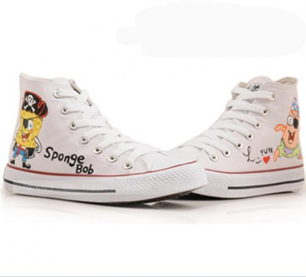 Anime SpongeBob SquarePants White Painted Canvas Shoes-3