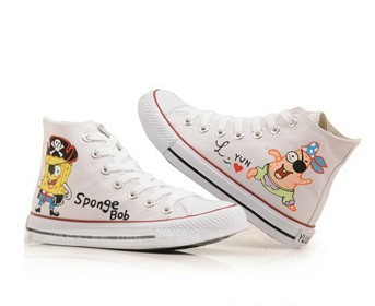 Anime SpongeBob SquarePants White Painted Canvas Shoes-4