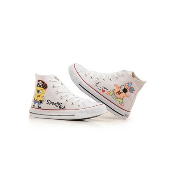 Anime SpongeBob SquarePants White Painted Canvas Shoes