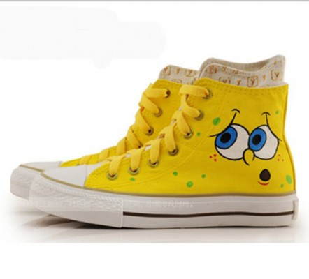 High Top Hand Drawing SpongeBob SquarePants Hand Painted  Shoes-2