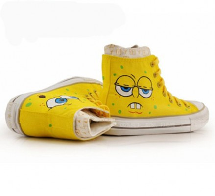 High Top Hand Drawing SpongeBob SquarePants Hand Painted  Shoes-3