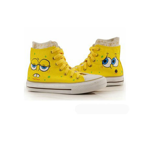 High Top Hand Drawing SpongeBob SquarePants Hand Painted  Shoes