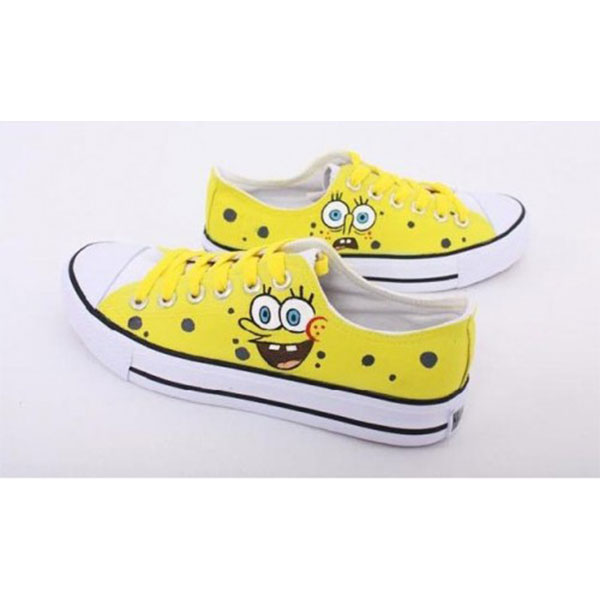Low SpongeBob SquarePants Yellow 3 Hand Painted Shoes Sneakers