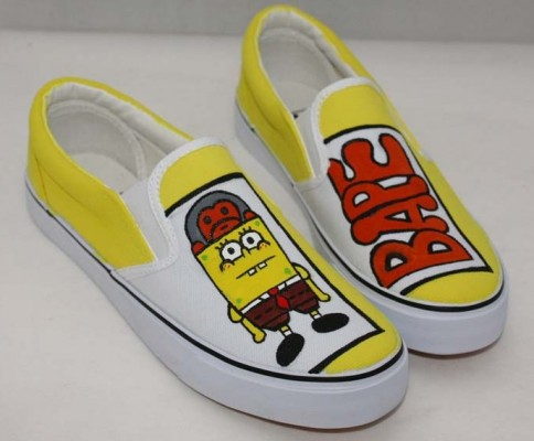 Low Painted Shoes SpongeBob SquarePants Yellow 5 Hand Painted Ca-1