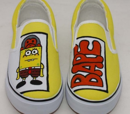 Low Painted Shoes SpongeBob SquarePants Yellow 5 Hand Painted Ca-3