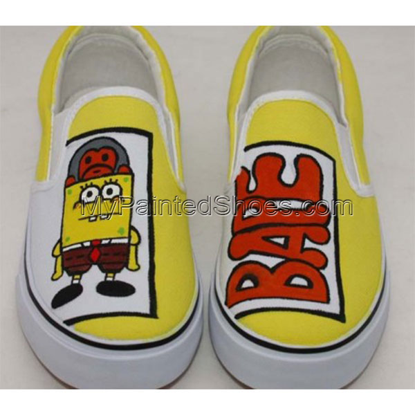 Low Painted Shoes SpongeBob SquarePants Yellow 5 Hand Painted Ca