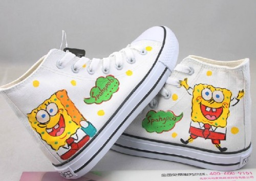 SpongeBob SquarePants White 2 Hand Drawing Canvas Shoes-2