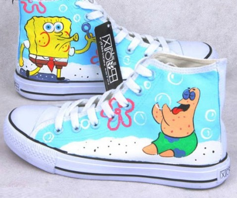 Anime Shoes Sponge BobSquare Pants Blue Painted Canvas Shoes-1