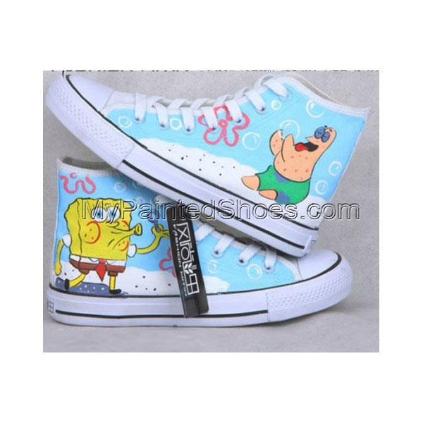 Anime Shoes Sponge BobSquare Pants Blue Painted Canvas Shoes