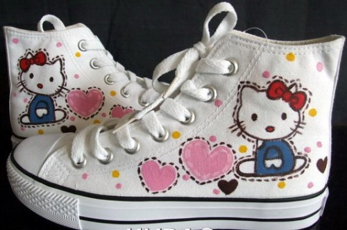 Hello Kitty White 2 Anime Shoes Hand Painted Canvas Shoes-2