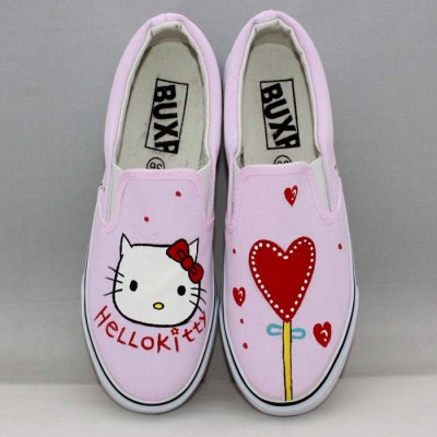 Hello Kitty Pink Hand Painted Canvas Shoes-1