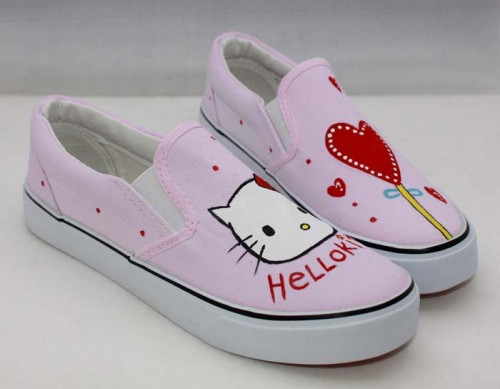 Hello Kitty Pink Hand Painted Canvas Shoes-2