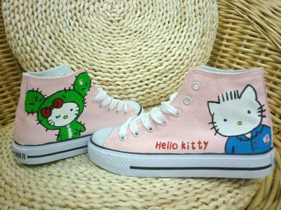 Anime Hello Kitty Pink Hand Painted Canvas Shoes-3