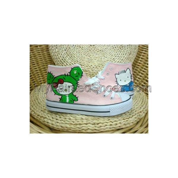 Anime Hello Kitty Pink Hand Painted Canvas Shoes