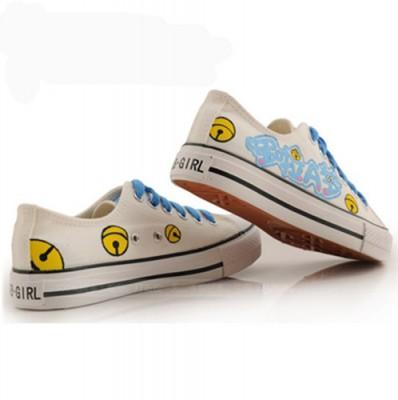 Low Doraemon White Blue Painted Sneakers Women/Men Canvas-3