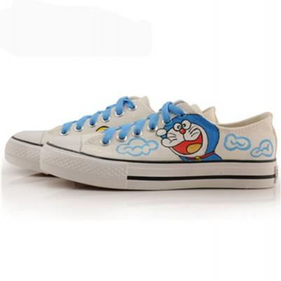 Low Doraemon White Blue Painted Sneakers Women/Men Canvas-4