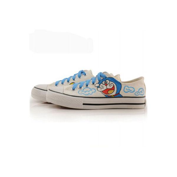 Low Doraemon White Blue Painted Sneakers Women/Men Canvas