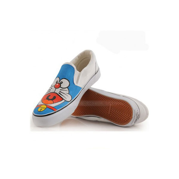 Anime Doraemon White Blue 2 Hand Painted Canvas Shoes