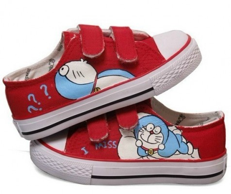 Anime Canvas Doraemon Red Hand Painted Canvas Shoes-1