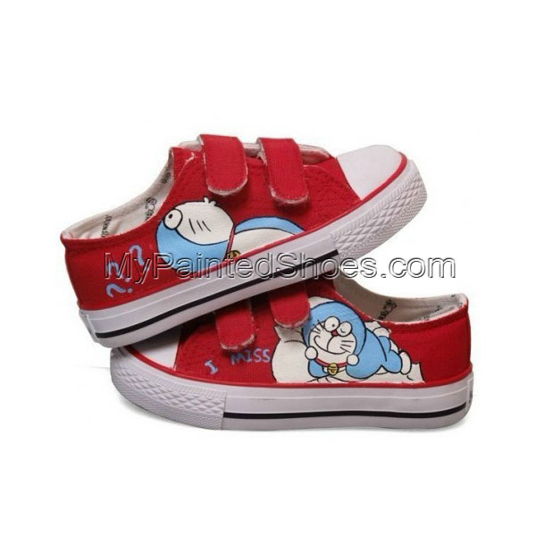 Anime Canvas Doraemon Red Hand Painted Canvas Shoes