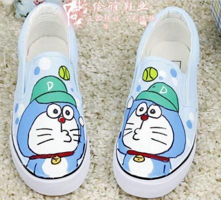 Anime Canvas Doraemon Light Blue Hand Painted Canvas Shoes-3
